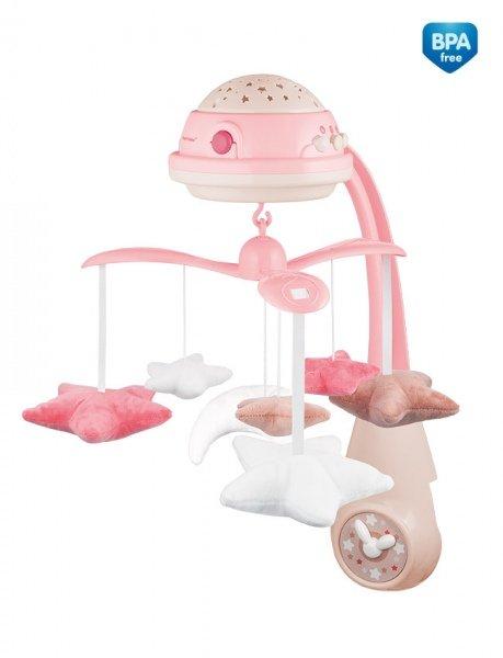 Muzikālais karuselis gultiņai ar projektoru Canpol 75/100 pink