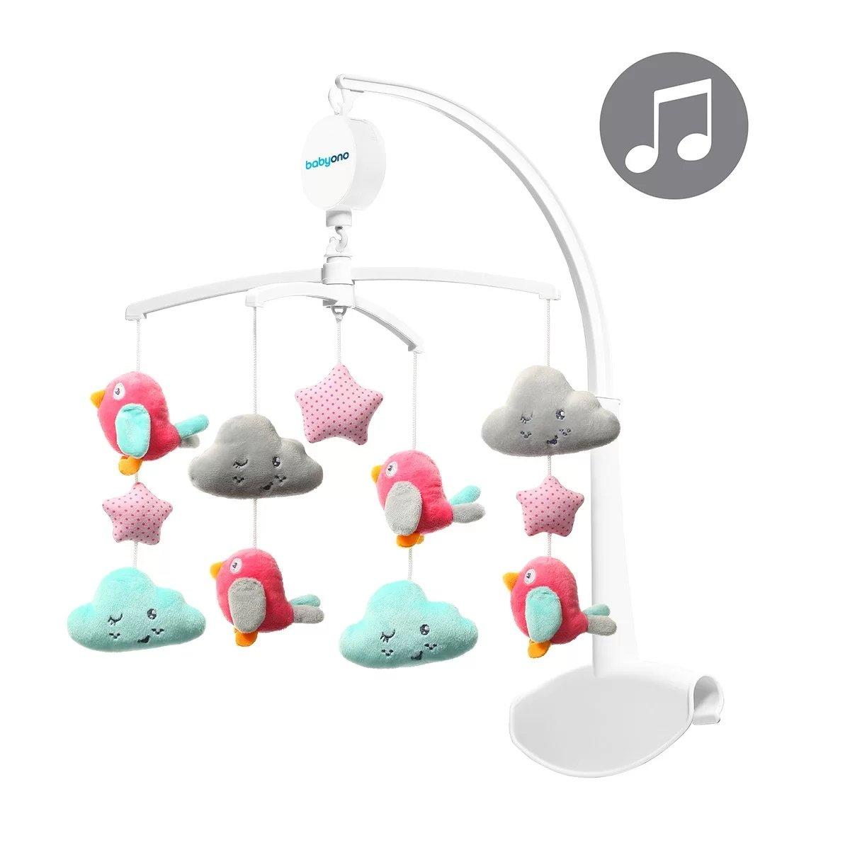Muzikālais karuselis gultiņai BabyOno CLOUDS&BIRDS 626