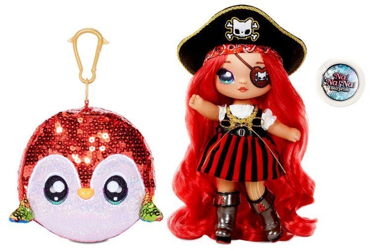 Na! Na! Na! Surprise 2-in-1 Fashion Doll Becky Buckaneer & Plush Pom with Confetti Sparkly Sequined
