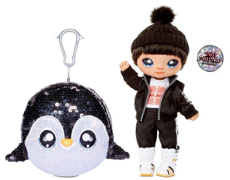 Na! Na! Na! Surprise 2-in-1 Fashion Doll Boy Andre Avalanche & Plush Pom with Confetti Penguin