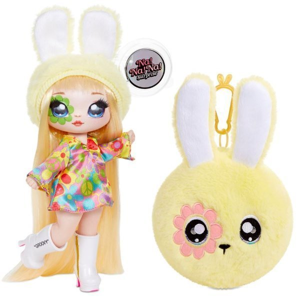 Na! Na! Na! Surprise 2-in-1 Fashion Doll & Plush Pom with Confetti Balloon Bebe Groovy
