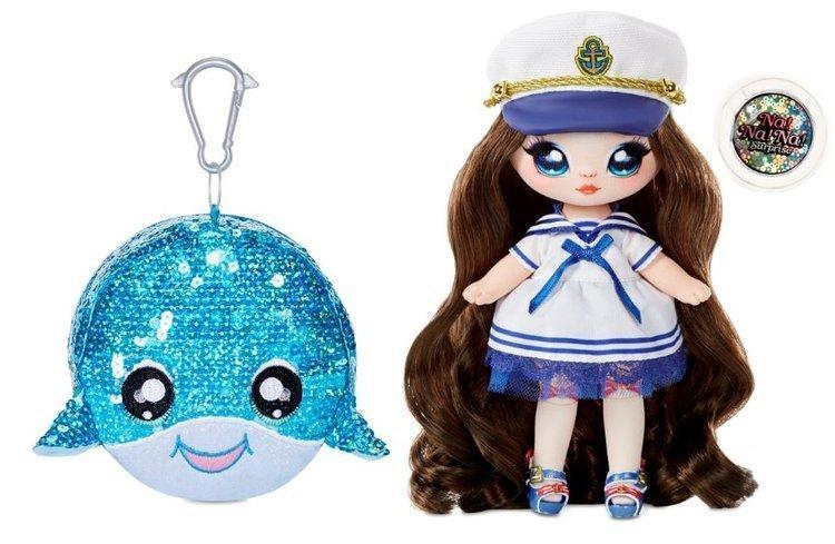 Na! Na! Na! Surprise 2-in-1 Fashion Doll Sailor Blu & Plush Pom with Confetti Whale