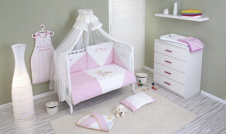 NINO-ESPANA Bērnu gultas veļas kokvilnas komplekts Baile Pink 3+1
