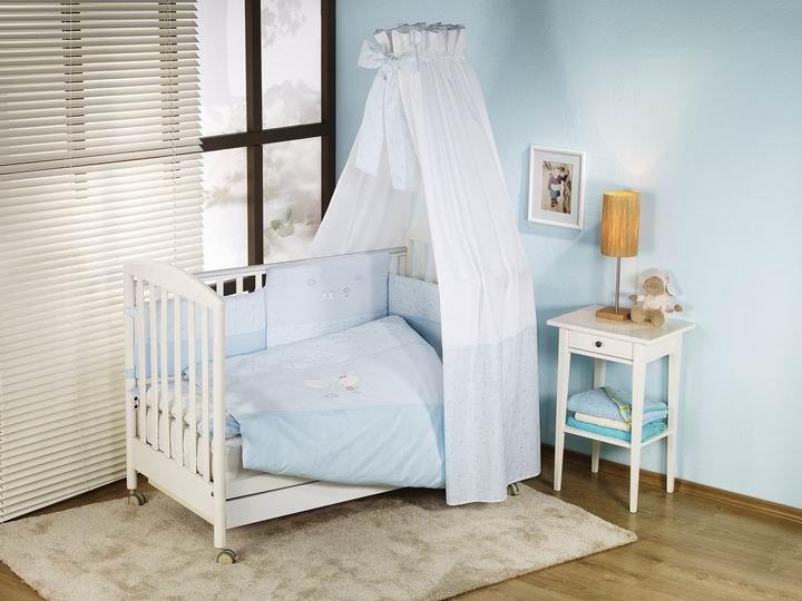 NINO-ESPANA Bērnu gultas veļas kokvilnas komplekts El Amor Blue 4BB Maigi zils ar zaķīšiem