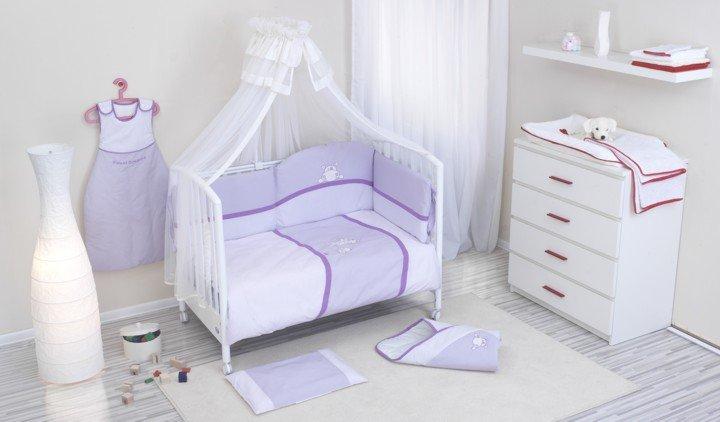 NINO-ESPANA Bērnu gultas veļas kokvilnas komplekts Paseo Violet 3plus