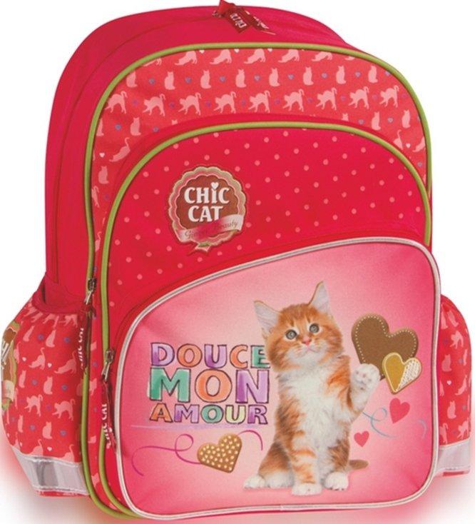 Patio Ergo School Backpack Chic Cat Bērnu ergonomiskā, skolnieku ortopēdiskā mugursoma