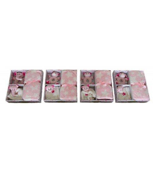 Plīša grabulis ar pledi 80x105 (M2437) rozā krasā 150592-1