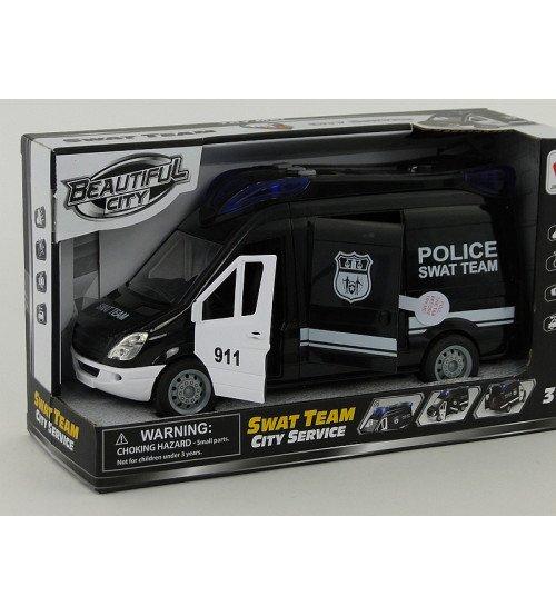 Policijas mašīna ar atveramām durvīm, ar skaņu un gaismu 24x12 cm 503663