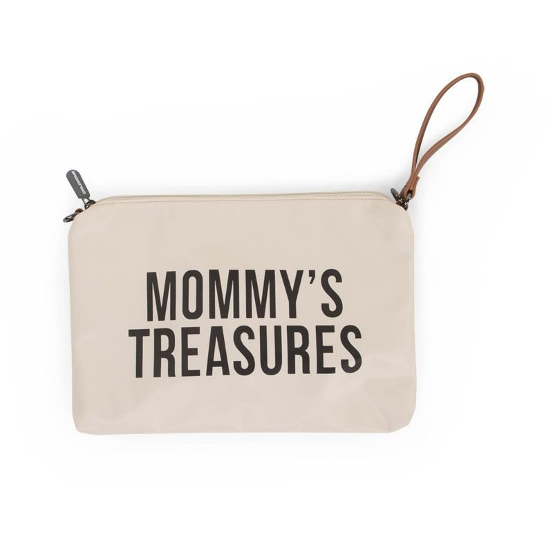 Ratiņu klača soma CHILDHOME Mommy Clutch white black