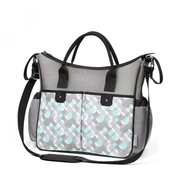 Ratiņu soma BabyOno SO CITY grey-turquoise 1423/06