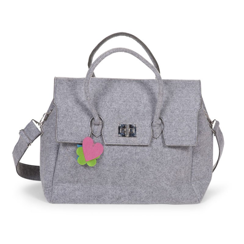 Ratiņu soma CHILDHOME Felt Nursery Bag grey + Stroller Hooks