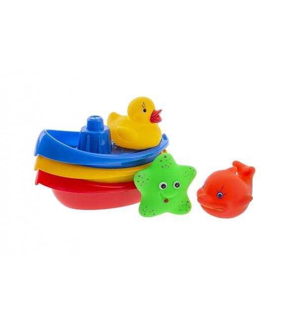 Rotaļlietas vannai Laivas ar zvēriņiem TULLO Tullo-123