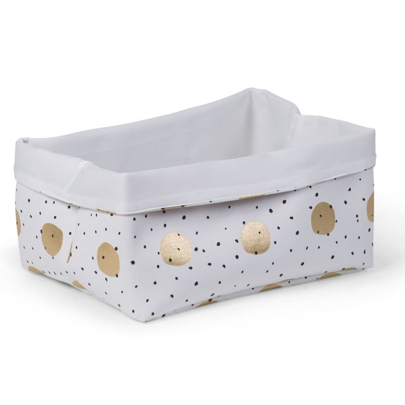 Rotaļlietu kaste 40x30x20 сm CHILDHOME Canvas box gold dots