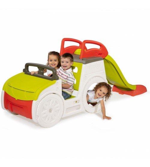 Rotaļu mašīna ar slidkalniņu un smilšu kasti Smoby Adventure Car 840205