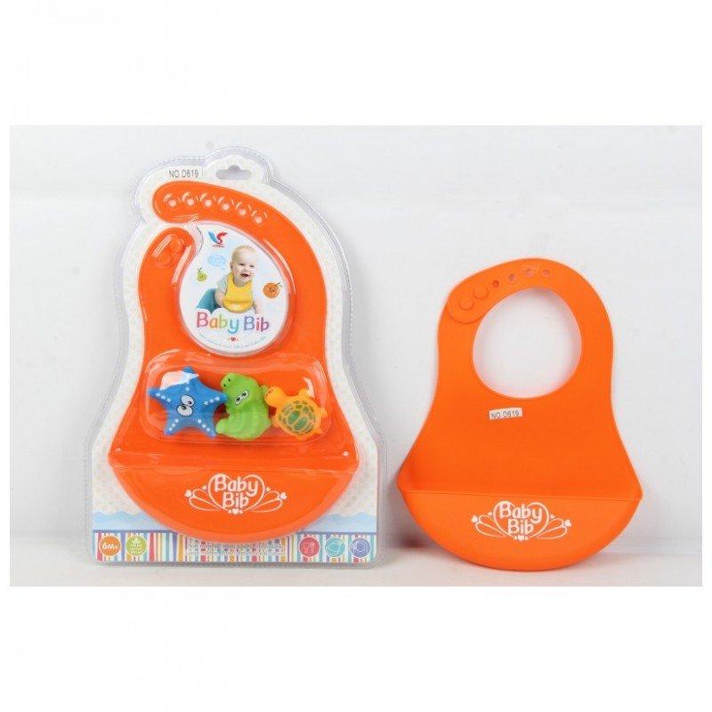 Silikona bērnu priekšautiņš ar rotaļlietām