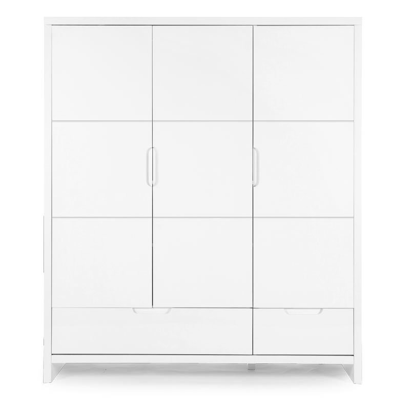Skapis CHILDHOME Quadro White Wardrobe 3 Doors+2 Drawers