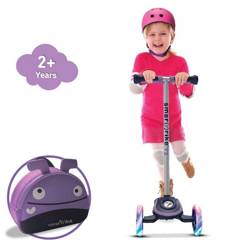 Skrejritenis Smart Trike Scooter T3 + LED mirdzoši riteņi + Soma Violet