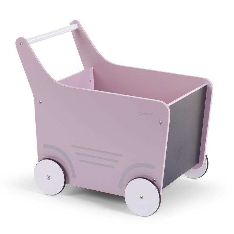 Stumjamā koka rotaļlieta CHILDHOME Wooden Stroller pink