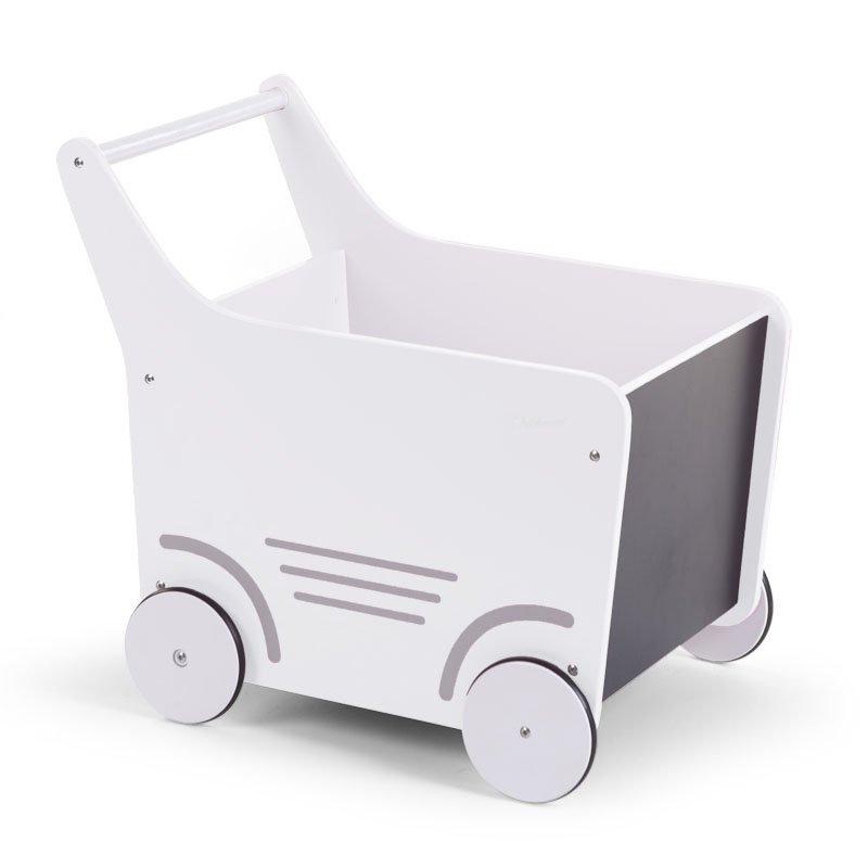 Stumjamā koka rotaļlieta CHILDHOME Wooden Stroller white