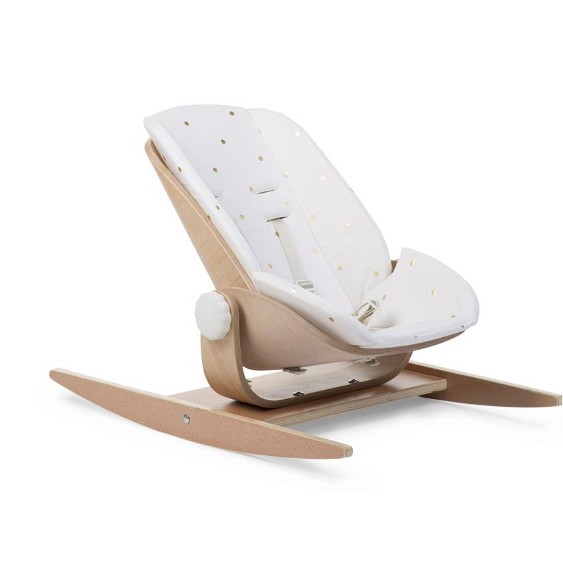 Šūpuļkrēsla ieliktnis CHILDHOME Cushion Jersey Wood Rock Seat gold dots