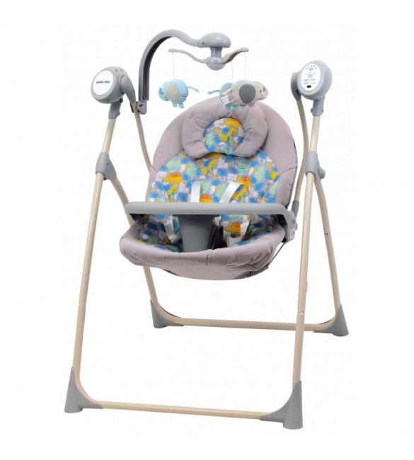 Šūpuļkrēsliņš BabyMix DINO grey-blue SW102RC