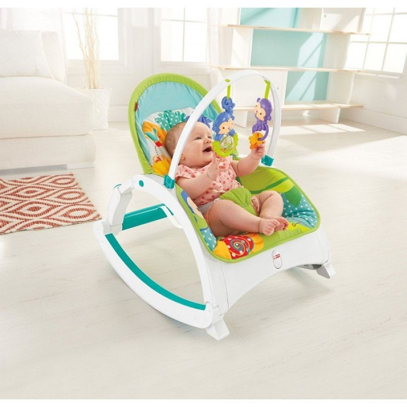 Šūpuļkrēsliņš Fisher Price Rainforest Friends Newborn To Toddler Portable Rocker CMR10