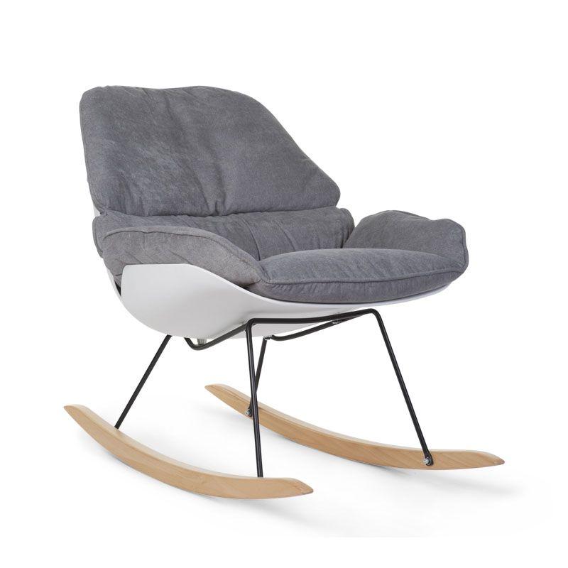 Šūpuļkrēsls māmiņai CHILDHOME Rocking Lounge white+grey