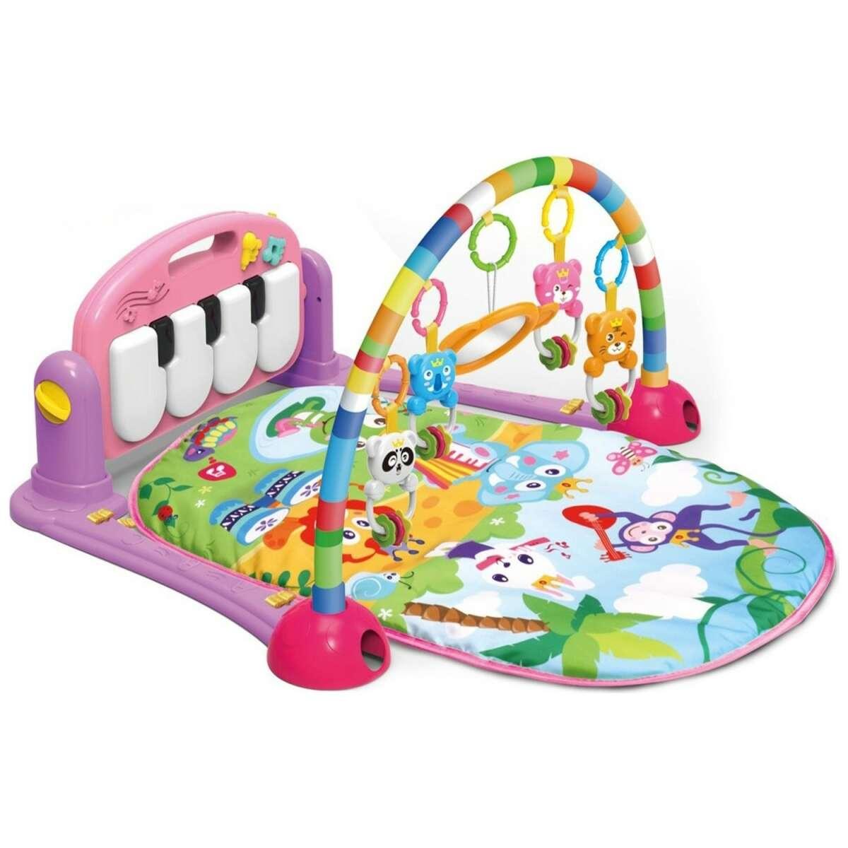 TLC Baby Piano Gym Mat Pink Aktivitātes paklājs ar pianino un mantiņam,ar skaņu