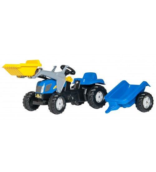 Traktors ar pedāļiem ar kausu un  piekabi Rolly Toys Rolly KID NH T7040  023929