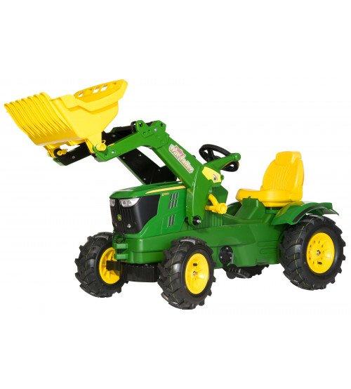 Traktors ar pedāļiem un kausu (piep.riteņ) Rolly Toys  rollyFarmtrac John Deere 6210R (3 - 8 gadiem ) 611102