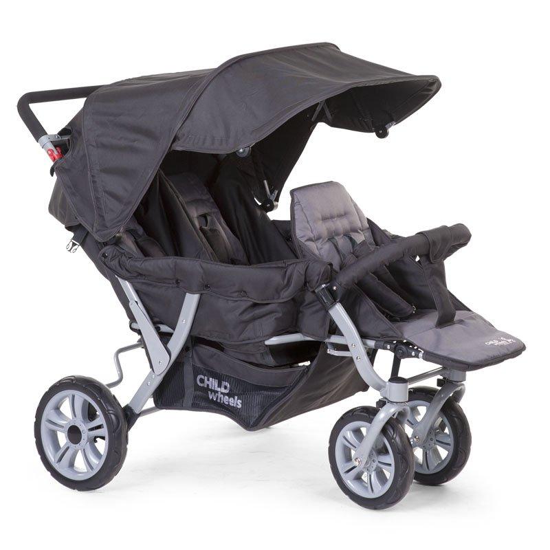 Trīnīšu ratiņi CHILDHOME CHILDWHEELS Triplet Stroller anthracite + RC