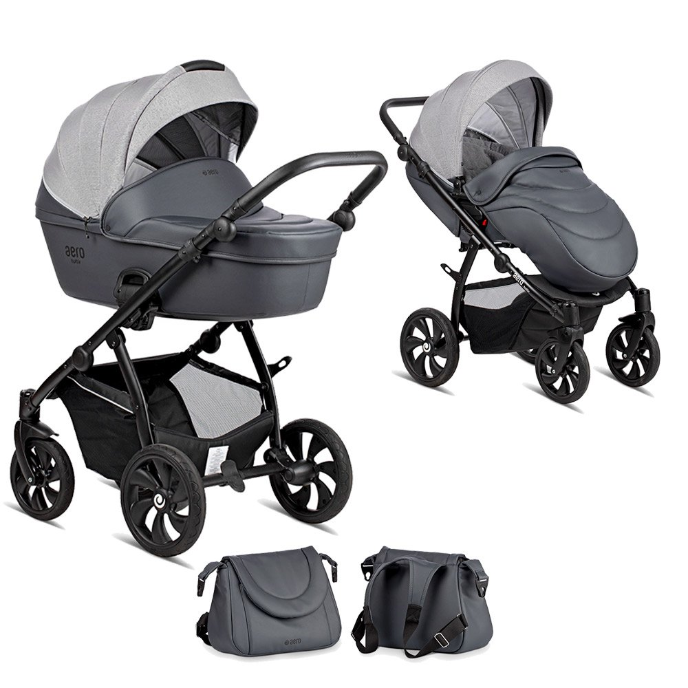 TUTIS Aero Reflective Grey 140 Bērnu rati 2in1