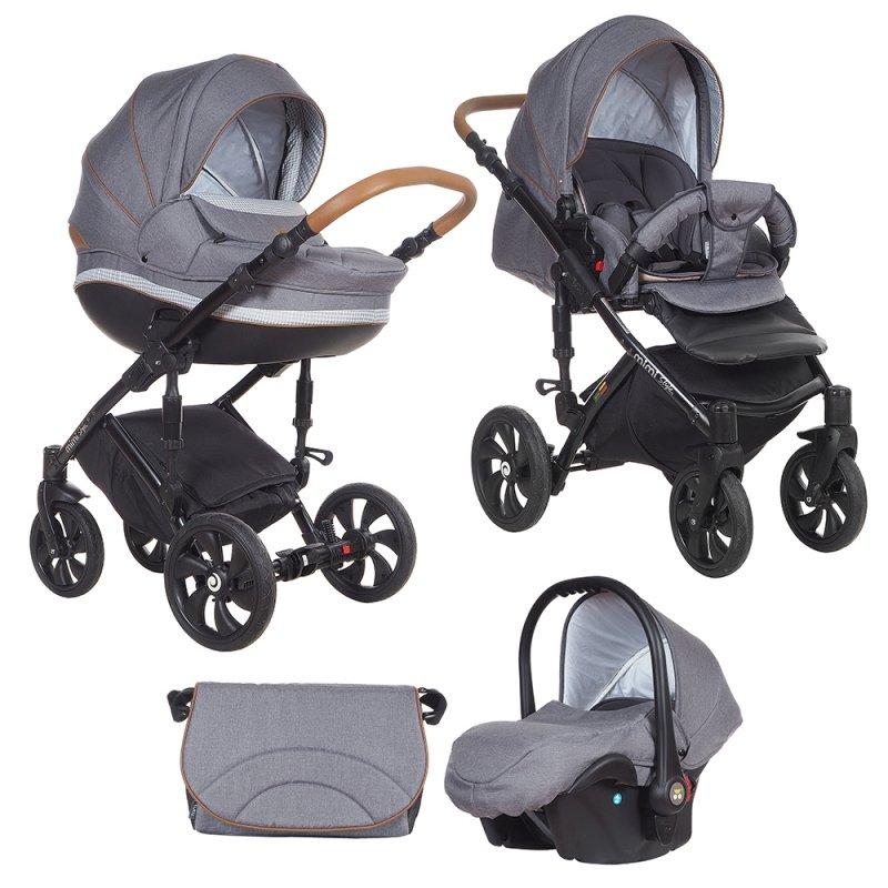 TUTIS MIMI Style 332 Grey Rhombus Bērnu rati 3in1