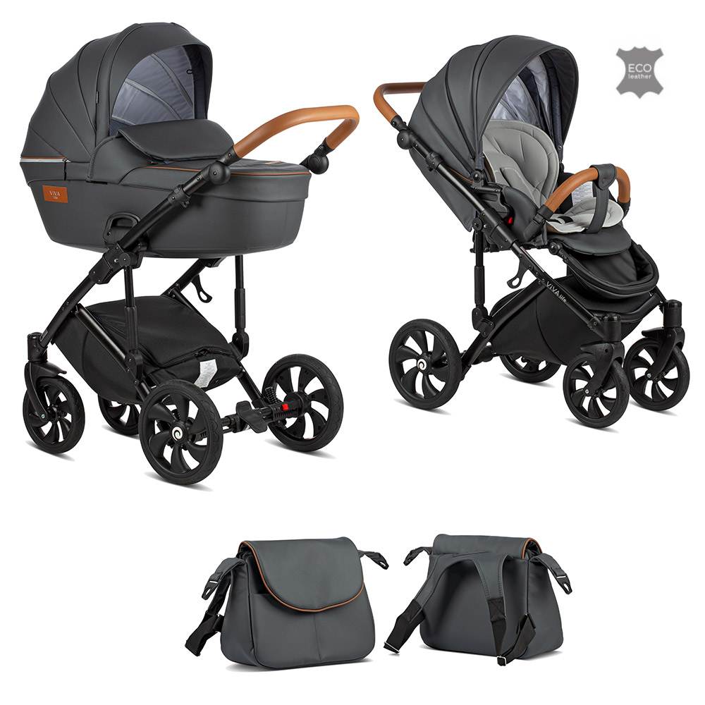 TUTIS Viva Life Leather Edition Shadow Grey 087 Bērnu rati 2in1