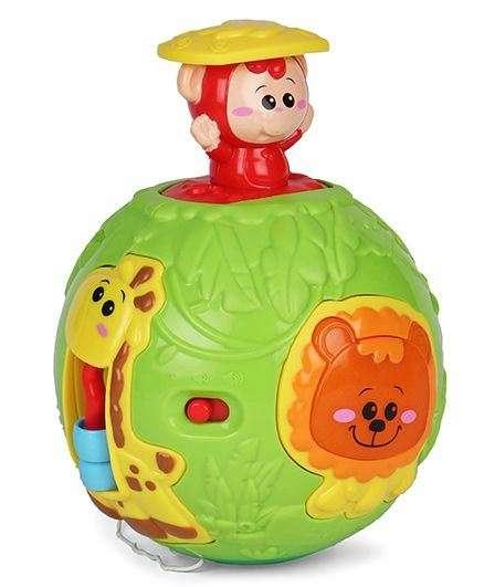 WinFun Roll N Pop Jungle Activity Ball Muzikāla attīstošā rotaļlieta Bumba 6+ men.