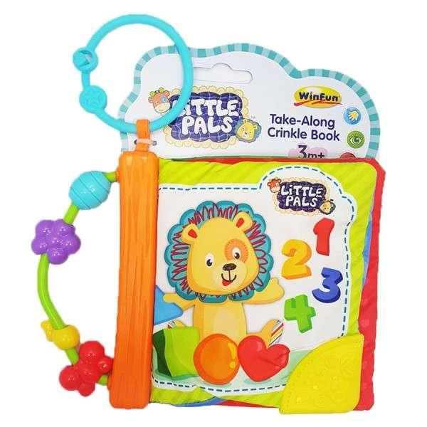 WinFun Take-Along Crinkle Book Attīstoša Mīkstā grāmatiņa Little Pals