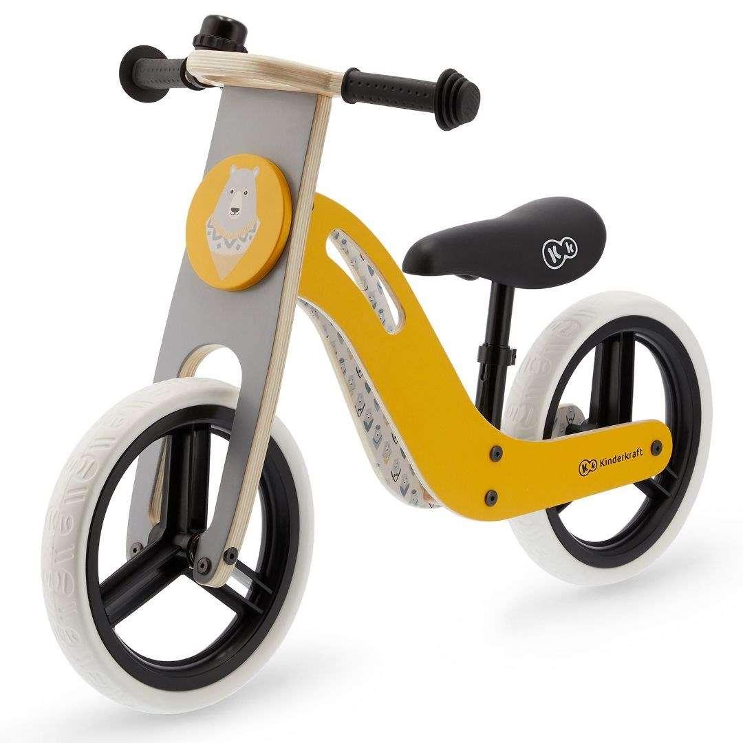 KinderKraft Balance Bike Uniq Honey Bērnu skrējritenis ar koka rāmi