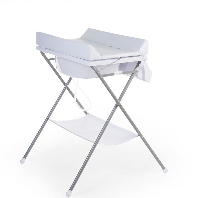 Bērnu pārtinamais galds ar vanniņu CHILDHOME Folding changing table + Bath grey white