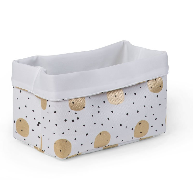 Kaste mantu glabāšanai 32x20x20 сm CHILDHOME Canvas box gold dots