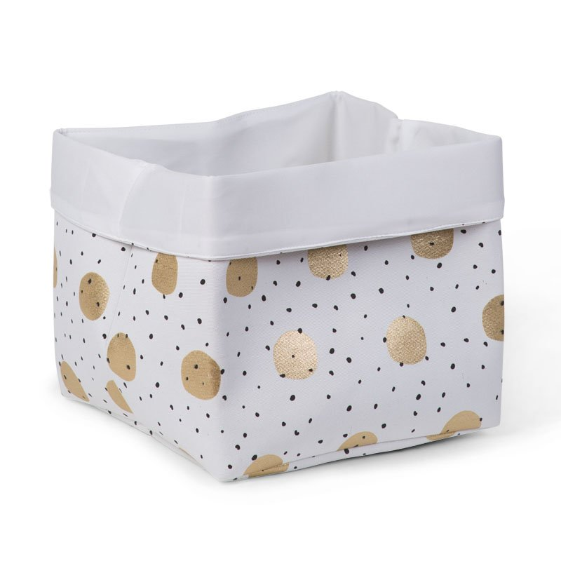 Kaste mantu glabāšanai 32x32x29 сm CHILDHOME Canvas box gold dots