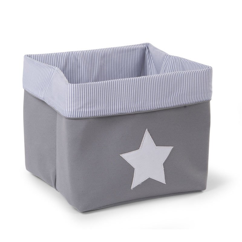 Kaste mantu glabāšanai 32x32x29 сm CHILDHOME Canvas box grey stripes