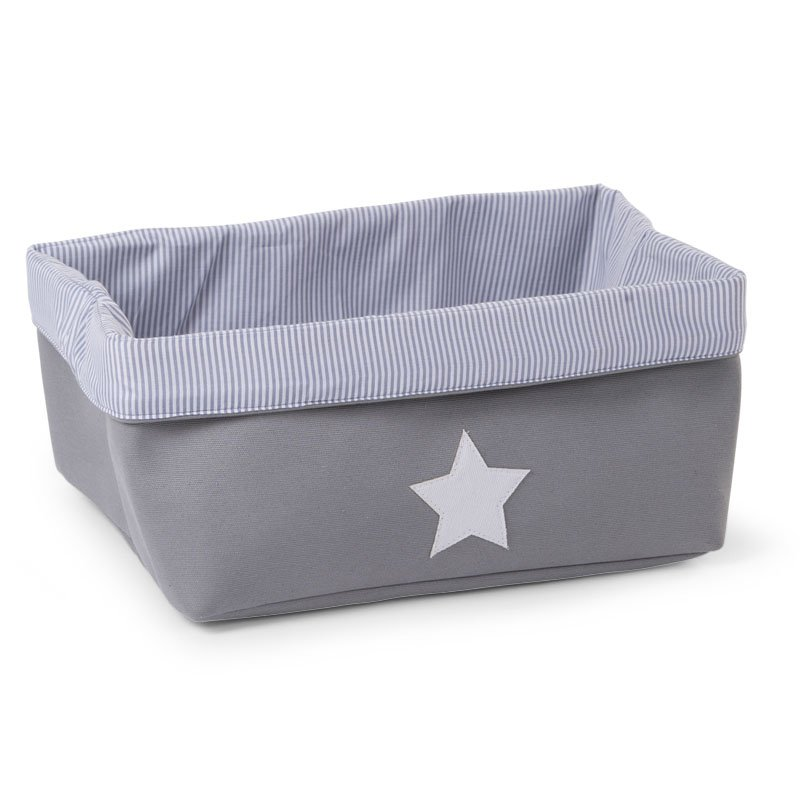 Kaste mantu glabāšanai 40x30x20 сm CHILDHOME Canvas box grey stripes