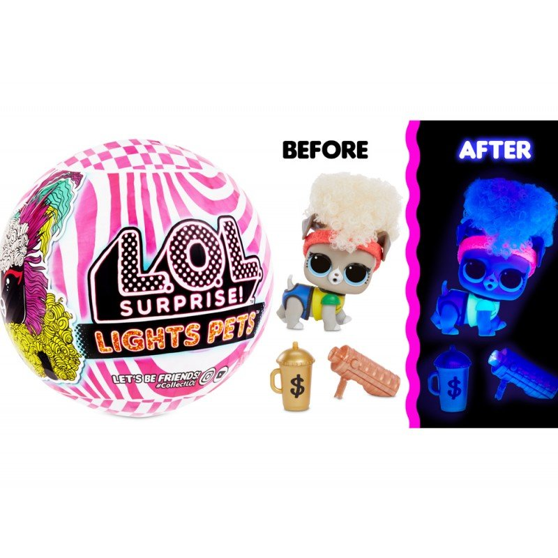 LOL MGA Lights Pets with Real Hair & 9 Surprises Including Black Light Surprises