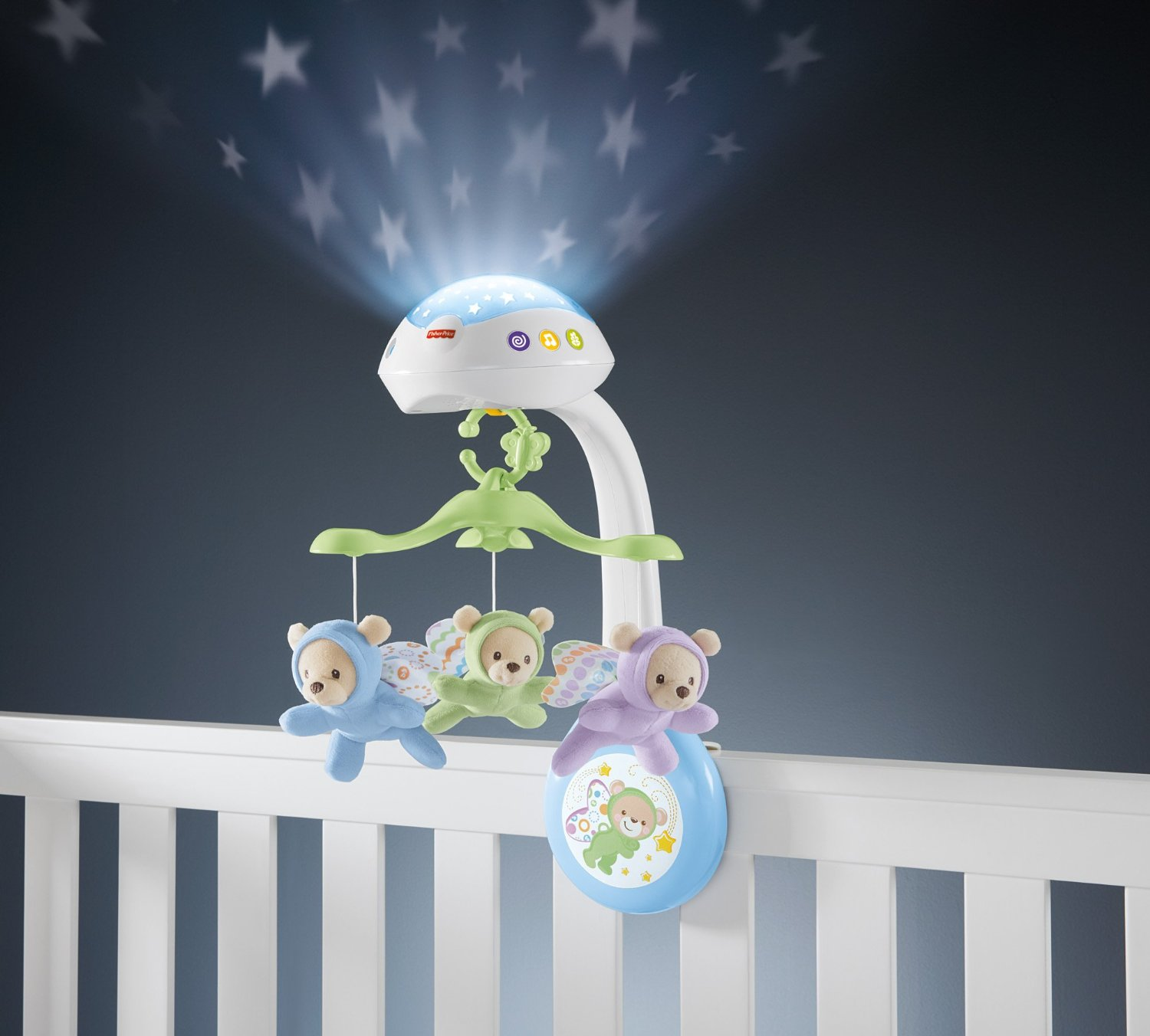 Muzikālais karuselis gultiņai Fisher Price Bears Dreams 3-in-1 Projection Mobile CDN41