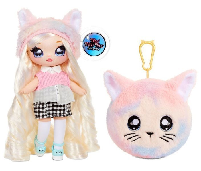 Na! Na! Na! Surprise 2-in-1 Fashion Doll & Plush Pom with Confetti Balloon Paula Purrfect
