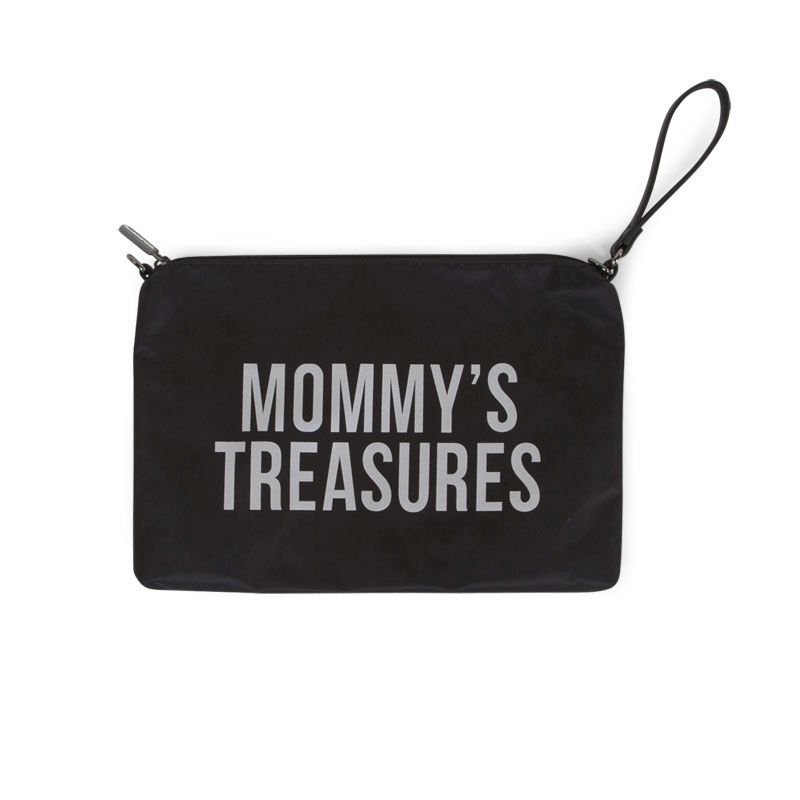 Ratiņu klača soma CHILDHOME Mommy Clutch black silver