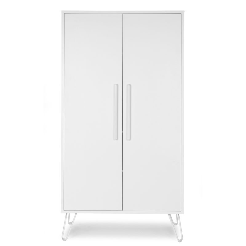 Skapis CHILDHOME Ironwood White Wardrobe 2 Doors