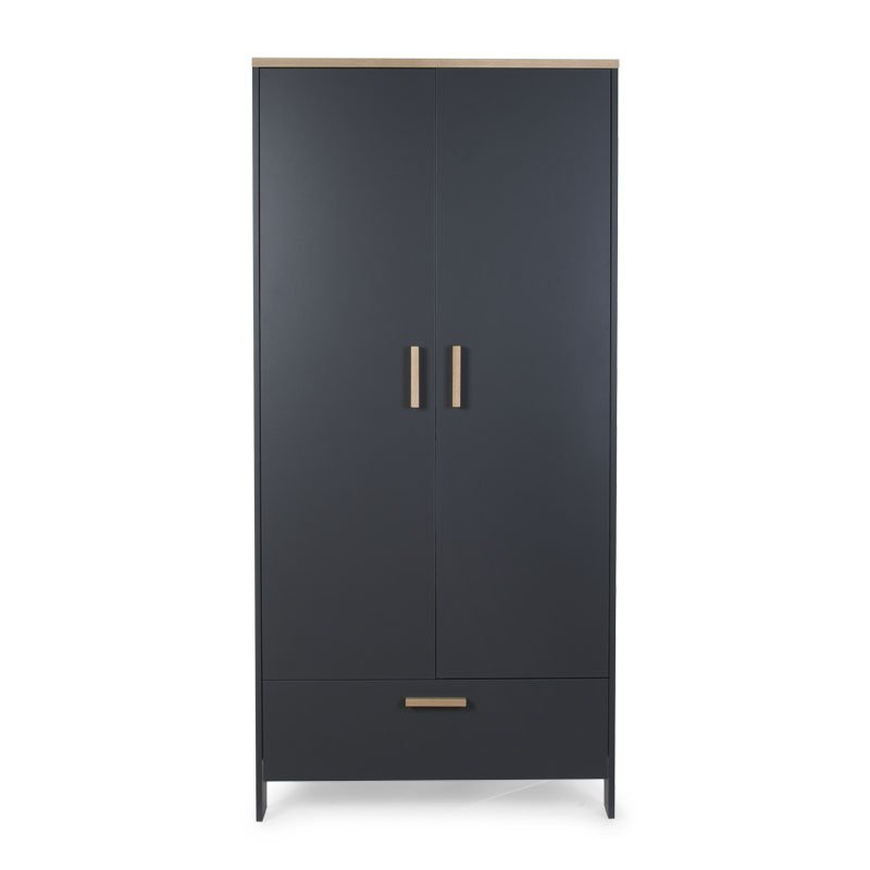 Skapis CHILDHOME Paris Dark Oak Anthra Wardrobe 2 Doors+Drawer