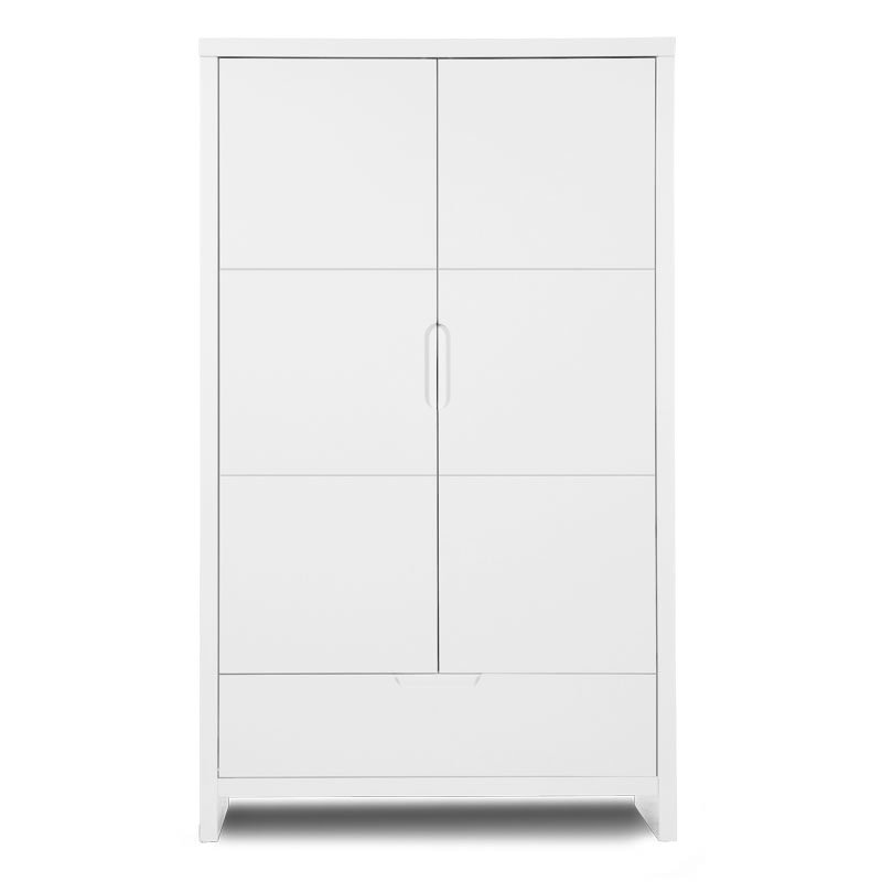 Skapis CHILDHOME Quadro White Wardrobe 2 Doors+Drawer